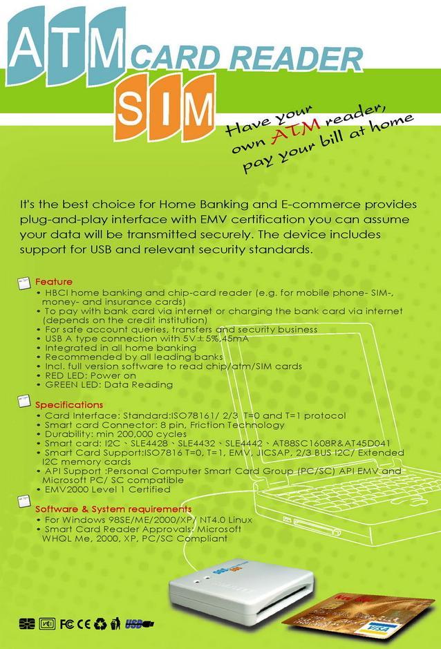 USB 2 0 External ATM/SIM Card Reader